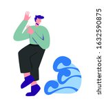 man suffering from hydrophobia  ... | Shutterstock .eps vector #1632590875