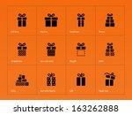 gift icons on orange background....