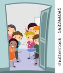 illustration of kids standing... | Shutterstock .eps vector #163266065