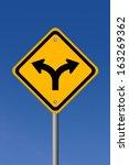 fork road illustrated sign | Shutterstock . vector #163269362
