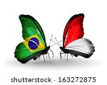 two butterflies with flags on... | Shutterstock . vector #163272875