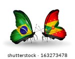 two butterflies with flags on... | Shutterstock . vector #163273478