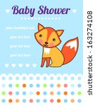 baby shower card with funny fox.... | Shutterstock .eps vector #163274108