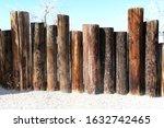 A Line Of Seaside Beach Wooden...