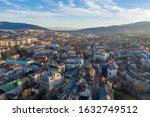 Aerial drone view on Bielsko-Biala. Bielsko-Biala is a city in southern Poland.