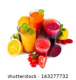 fresh juice  mix fruits and... | Shutterstock . vector #163277732