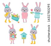 cute animals collection. rabbit ... | Shutterstock .eps vector #1632783295