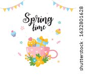 spring time greeting card.... | Shutterstock .eps vector #1632801628