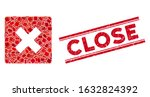 mosaic close icon and red close ... | Shutterstock .eps vector #1632824392