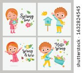 hello spring greeting card... | Shutterstock .eps vector #1632824545