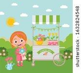 cartoon landscape with a flower ... | Shutterstock .eps vector #1632824548
