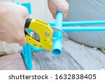 pvc pipe cutting. water pipe...   Shutterstock . vector #1632838405
