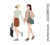 trendy young women holding... | Shutterstock .eps vector #1632880732