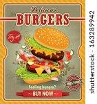 vintage burgers poster design | Shutterstock .eps vector #163289942