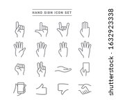 hand sign line icon set | Shutterstock .eps vector #1632923338