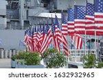 US flags flying at the USS Missouri Memorial at Pearl Harbor