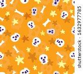 skulls on an orange background. ... | Shutterstock .eps vector #1632977785