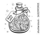 bottle with magic calming...   Shutterstock .eps vector #1632995905