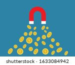 magnet and gold coins with yuan ... | Shutterstock .eps vector #1633084942