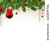 christmas background with fir... | Shutterstock .eps vector #163309706