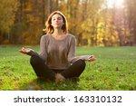 beautiful young girl meditating ... | Shutterstock . vector #163310132