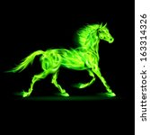 Raster version. Illustration of green fire horse on black background.  - stock photo