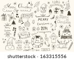 merry christmas signs collection | Shutterstock .eps vector #163315556