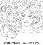 girl with white hair  head in... | Shutterstock .eps vector #1633291492