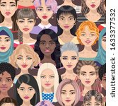 seamless pattern with women... | Shutterstock .eps vector #1633377532