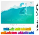 vector calendar of 2014. unique ... | Shutterstock .eps vector #163341746