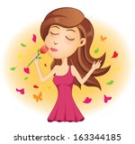 young lady smelling red rose | Shutterstock .eps vector #163344185