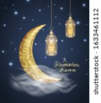 crescent islamic with lanterns... | Shutterstock .eps vector #1633461112