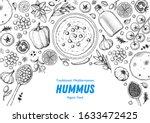 hummus cooking and ingredients... | Shutterstock .eps vector #1633472425