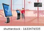 happy man using bank terminal... | Shutterstock .eps vector #1633476535