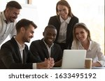 five positive mates gathered at ...   Shutterstock . vector #1633495192