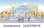 urban recreation area flat... | Shutterstock .eps vector #1633558978