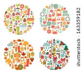 set of seasonal round cards | Shutterstock .eps vector #163359182