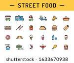 vector street food icon set.... | Shutterstock .eps vector #1633670938