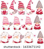 a vector set of cute gnome... | Shutterstock .eps vector #1633671142