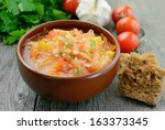 sauerkraut soup in brown bowl... | Shutterstock . vector #163373345