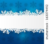 Paper Snowflake Border On Blue