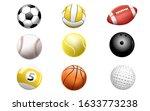 sports ball 3d set. football.... | Shutterstock . vector #1633773238
