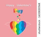 saint valentine rainbow paper... | Shutterstock .eps vector #1633830568