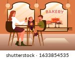 family having lunch in bakery....   Shutterstock .eps vector #1633854535