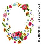 oval flower frame for... | Shutterstock . vector #1633874005