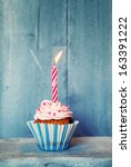 birthday greeting card with... | Shutterstock . vector #163391222