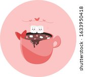 marshmallows in love. valentine'... | Shutterstock .eps vector #1633950418
