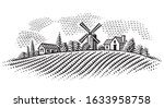 rural landscape with windmill... | Shutterstock .eps vector #1633958758