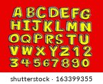 vector real hand drawn letters... | Shutterstock .eps vector #163399355