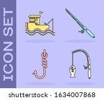 set fishing rod and fish ...